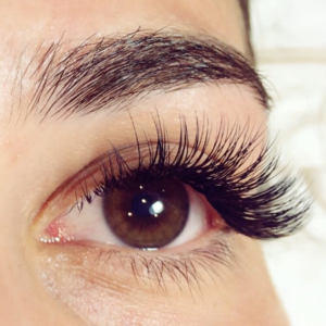beautiful lash extensions on a female model